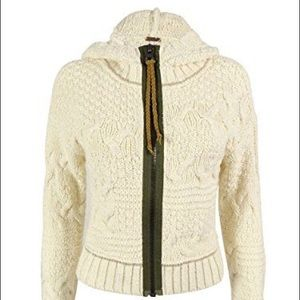 Free People White/Cream hooded cropped cardigan